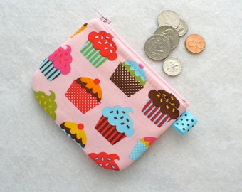 Colorful Confections Cupcakes Fabric Girls Coin Purse Zipper Change Purse Mini Coin Purse Pink Blue Chocolate Handmade MTO