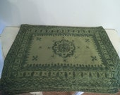 4 Gorgeous BOHO PlaceMats ~ Green on Green Jade Stitching
