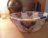 Vintage Woven Raffia Bowl Basket ~ Native ~ Southwestern ~