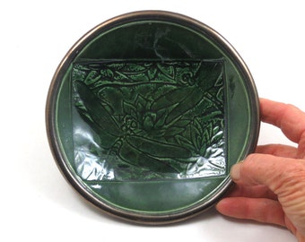 DragonflyPond Bowl Handmade Ceramic  Pottery in Emerald