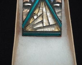 Square Mosaic Brooch