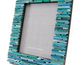 colorful TEAL 5X7 picture frame - made from recycled magazines, blue, ocean, sky, shades of blue, unique gift, home decor, interior design