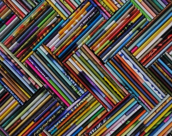 colorful herringbone wall art- made from recycled magazines,blue,green, red, purple, pink, yellow, orange, detail, modern, colorful, bright