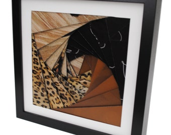 leopard colored pinwheel shadowbox- made from recycled magazines, brown, neutral, black, spiral, modern, colorful, handmade, interior design