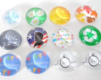 large HOLIDAY SET 2 magnets or push pins - 2017 perpetual calendar, back to school, anniversary, 4 seasons, birthday, recycle