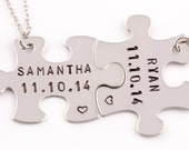 Personalized Anniversary Date Puzzle Piece Necklaces   Set of 2    Couples Gift   Anniversary Gift   Boyfriend Girlfriend Gift