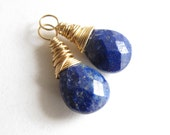 Lapis Earring Charms / September birthstone (1 pair) Gold, Rose Gold, or Sterling Silver