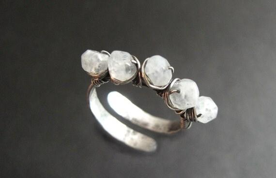Moonstone Ring, Rainbow Moonstone Ring, Gemstone Ring, June Birthstone Ring, Adjustable Ring (Silver, Gold, or Rose Gold)