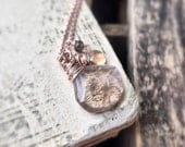 Copper Rutilated Quartz  Necklace - Rose Gold Necklace - Sunstone Gemstone - Gemstone Necklace- Copper Quartz Jewelry - Free Shipping
