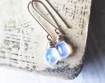 Opalite Earrings, Gold Earrings, Gemstone Earrings, Bridal Jewelry, Bridesmaid, October Opal Birthstone, Blue Flash Earrings, Free Shipping