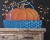 Blue Basket ORIGINAL Folk Art Painting FREE Shipping