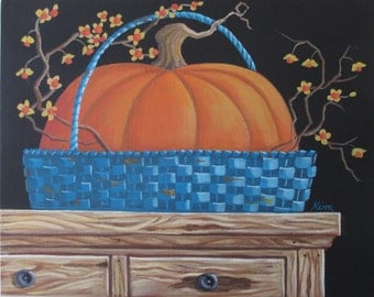 Blue Basket ORIGINAL Folk Art Painting FREE Shipping