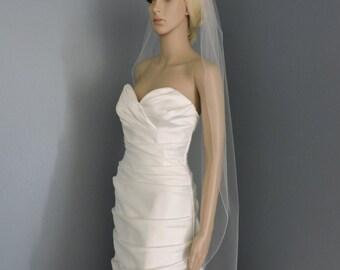 Wedding Veil Sheer Fingertip Petal Cut and Pencil Edge, Bridal Veil 45X45PE