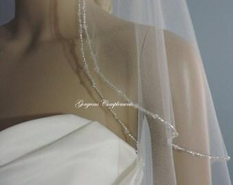 Wedding Veil Amazing Sparkle Beaded Bridal Veil