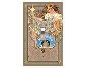 0789a  Art Nouveau Lady with Panache  Mrs Butler Switchplate (choose size/price from dropdown)