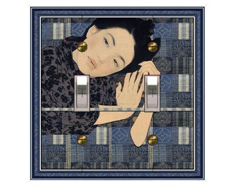0348a  Beautiful Asian Girl Resting Switch plates   Mrs Butler  (Choose price & configuration from dropdown box)