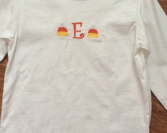 Boy's or Girl's long sleeve initial shirt with candy corn