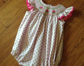 Girl, Toddler Short Sleeve Smocked Bubble Suit - Sz 6m