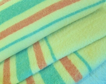 Pair vintage wool blanket, Canadian blankets, 2, Madawaska, matching set, 1940s - 50s  twin beds, green and pink stripes