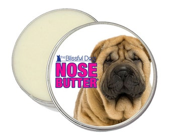 Chinese Shar-Pei ORIGINAL NOSE BUTTER® Handcrafted All Natural Balm for Dry or Crusty Dog Noses 8 oz. Tin With Shar Pei Label in Gift  Bag