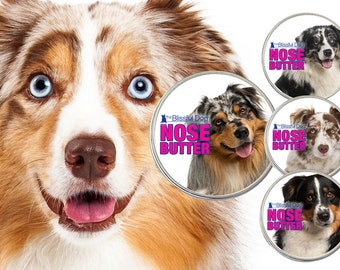 Australian Shepherd ORIGINAL NOSE BUTTER® Balm for Dry Dog Noses Choice: 1 oz, 2 oz or 4 oz Tin Your Choice of 4 Colors of Aussie on Label