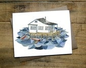 """Housewarming, Nautical - House on the Water 4.25"""" x 5.5"""" Watercolour Illustration Blank Card with Envelope, Fishing Boat Art, Mens Gift"""