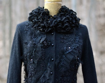 Victorian romantic black Opera COAT/ DRESS/DUSTER with tiered bustle, flowers and ruffle collar in size Small/Medium