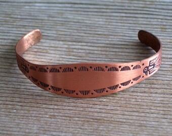 Southwestern Cuff Bracelet, Vintage Copper Cuff Bracelet, Vintage Tribal Cuff, Southwestern Tribal Copper Bracelet, Knifewing Arrow Bracelet