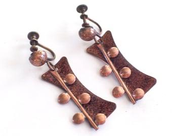 Matisse Earrings, Vintage Matisse Enamel Copper Modernist Earrings, Copper Screwbacks, Enamel Dangles, Mid Century Copper, Matisse Jewelry