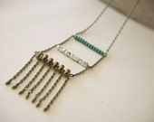 Boho Ladder Necklace Beaded Fringe Nomad Folk Glass Beads - Skye.