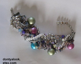 Thick Chunky Beaded Statement Bracelet