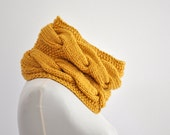 Mustard Knit Scarf Chunky Cowl Neckwarmer Circle Scarf Sparkle Metallic Gift for Her Gift for Him Unisex