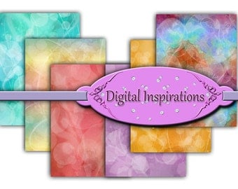 Colorful Bokeh Watercolor ATC Backgrounds for Collage Tags Jewelry