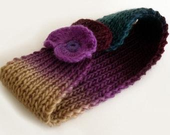 SALE Headband, Knit headband, Hippie headband, Hipster, Wool headband, Ear warmer, Freeform  croche flower, Boho accessory, Fall accessory