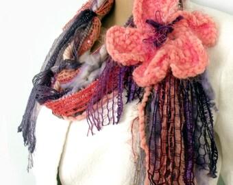 Boho scarf, Gypsy hippie scarf, Infinity scarf, Fiber art scarf, Yarn necklace, Fringe tassel scarf, Fairy scarf, Fashion trend, Etsy Gifts