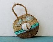 Natural Home Decor Beach Ornament , Driftwood Sand & Seashell Art