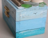 Nautical Treasure Chest , Coastal Mini Jewelry Gift Box , Ring Bearer Photo Prop , Beach Wedding Decoration