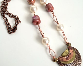 Women, Necklace, Free Trade, Copper Kazuri and Pearl Pendant Necklace