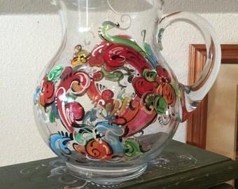 Rosemaled glass pitcher