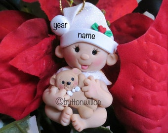 Baby with Teddy Bear Ornament,  Babys First Christmas Ornament  Babys 1st Christmas, Teddy Bear Personalized Ornament Handmade in the USA