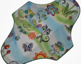 Moderate Core- Meow Garden Reusable Cloth Maxi Pad- WindPro Fleece 10 Inches (25.5 cm)