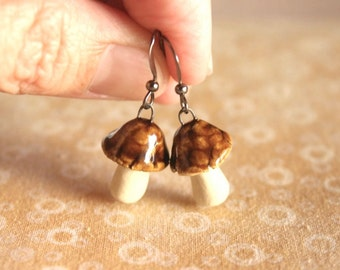 Cute Handmade Amber Glazed Stoneware MUSHROOM Earrings