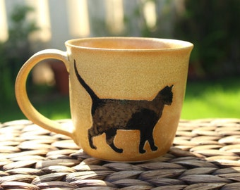 SALE -- Small Ceramic CAT Mug - Handmade Golden Stoneware Cat Mug - Black Cat Silhouettes - Ready To Ship