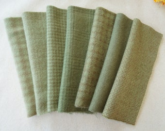 Eucalyptus-Sage Hand Dyed and Felted Wool Fabric Perfect for Rug Hooking, Applique, Quilting, and Craft Projects by Quilting Acres