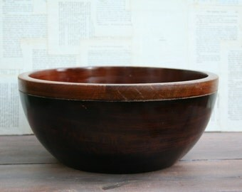 Lovely Large Two Toned Brown Wood Bowl