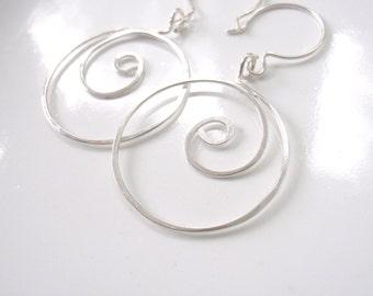 Silver Circle Spiral Hoop Earrings, Tarnish Resistant Sterling Silver