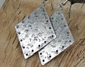 Metal stamped Jewelry - Hand Stamped Jewelry - Metal Stamped - Diamond Shaped Abstract Earrings