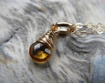 Citrine faceted tiny briolette necklace - gold filled handmade jewelry - November birthstone