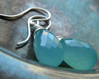 Sky blue chalcedony wire wrapped briolette earrings - bright sterling silver - Handmade gemstone jewelry