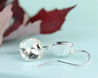 Crystal hook earrings, Swarovski cushion cut 10mm crystal Sterling silver earings, gift for her under 30 dollars, sparkle like diamonds
